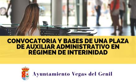 Convocatoria y bases de una plaza de auxiliar administrativo en régimen de interinidad